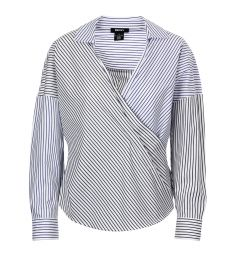DKNY L/S STRIPE ROLLED CUFF COLLARED WRAP TOP P0AAEEXK