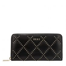 DKNY SOFIA - LARGE ZIP AROUND - CRINKLE LEATHER WITH STUDS R941RF87