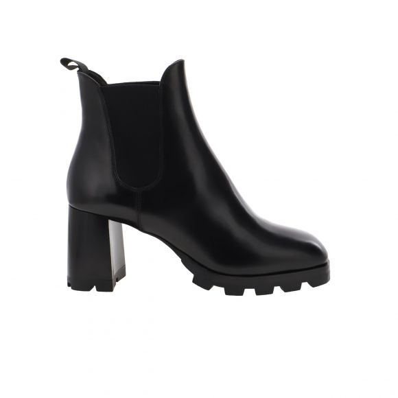PRADA ANKLE BOOTS LEATHER (NON-REPT.)UPPER FABRIC TRIM/RUBBER SOLE 1T876L 248 KONTO
