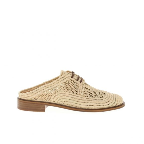 CLERGERIE JALY NATURAL RAFIA MULE WITH L 310371 FLAT